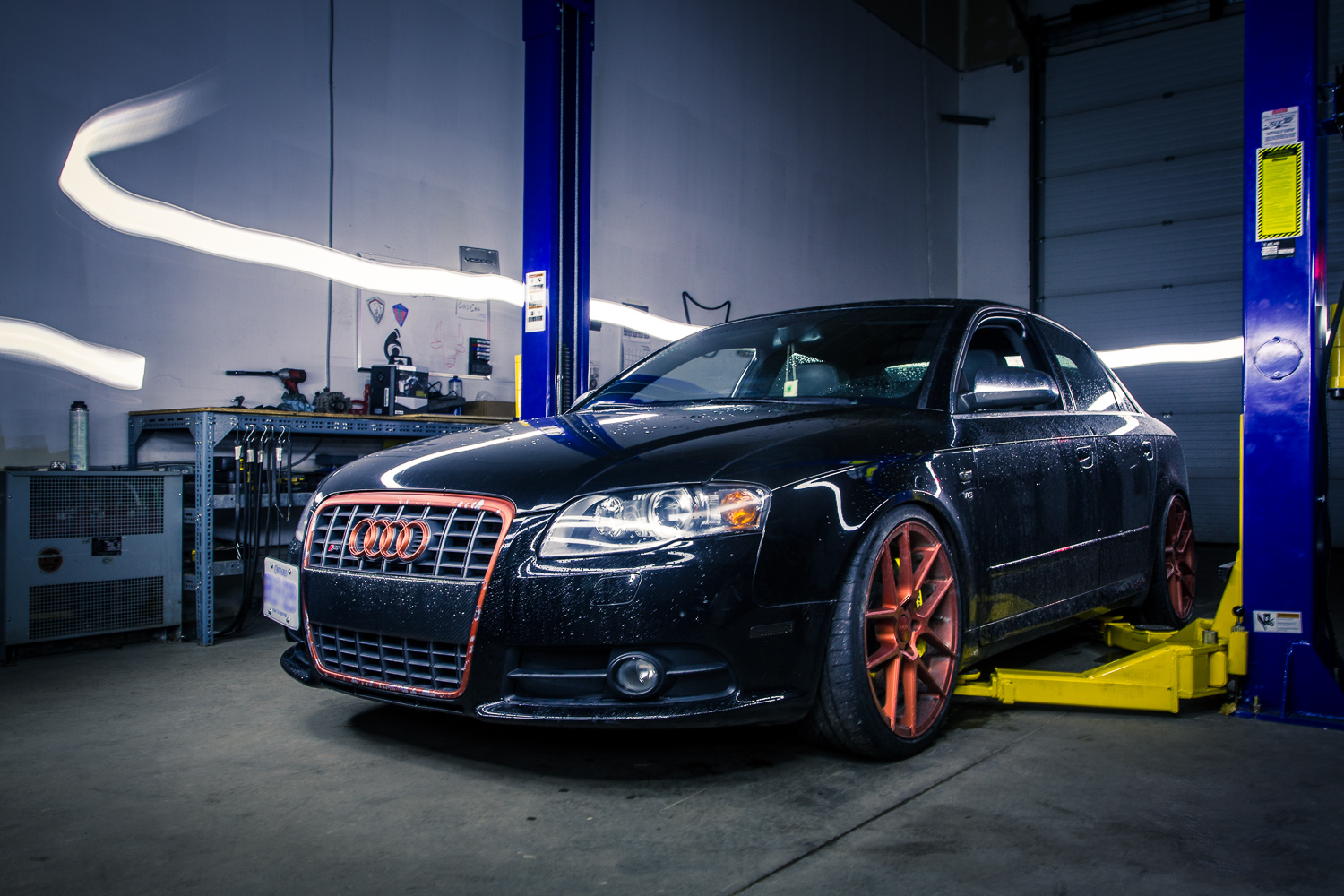 After Picture of a high performance Audi in an Orangeville shop, taken by Frank Myrland Photography