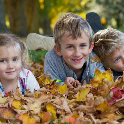 Portrait of three children playing in leaves taken in Hockley, taken by Frank Myrland Photography